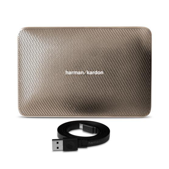 Esquire 2 - Gold - Premium portable Bluetooth speaker with quad microphone conferencing system - Detailshot 1
