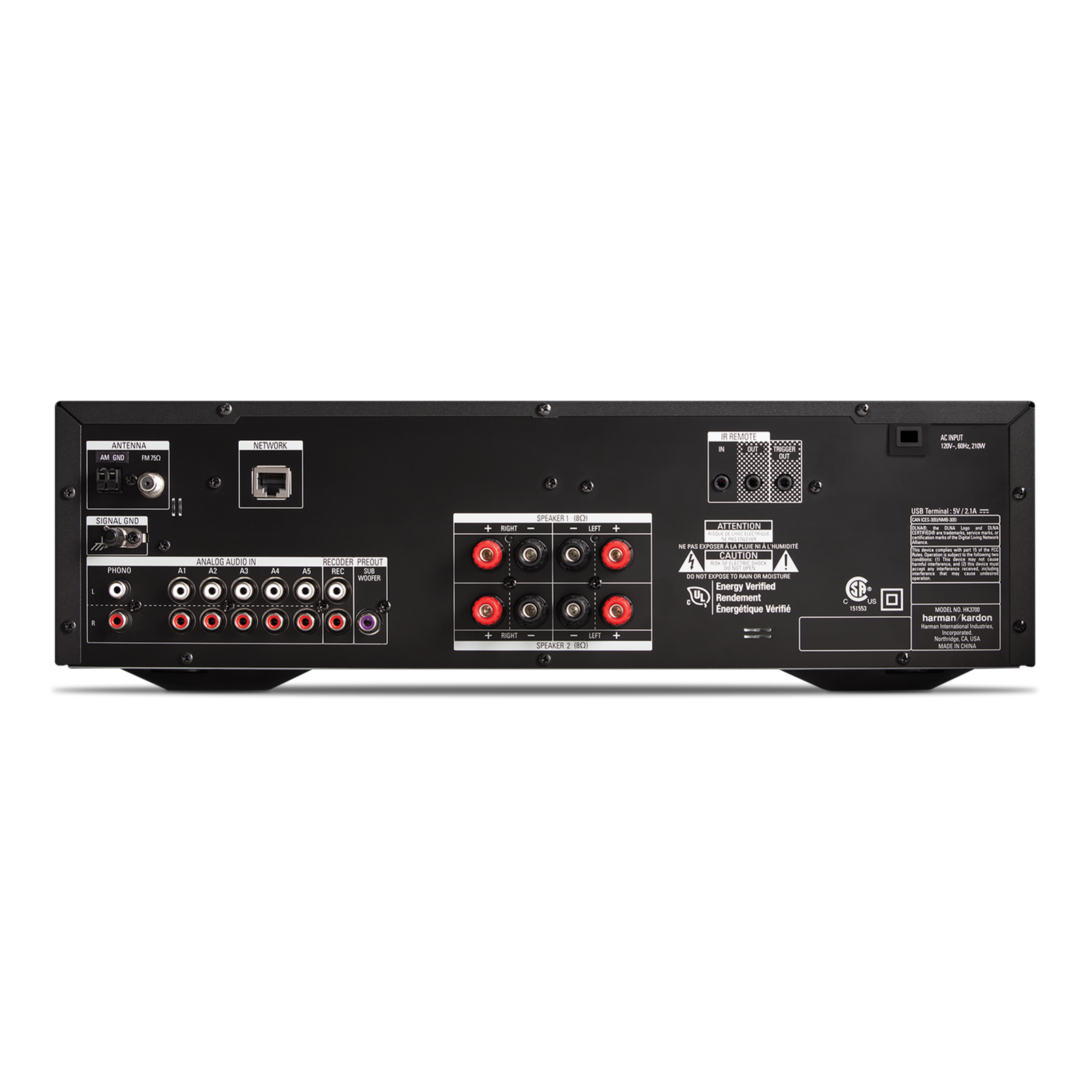 HK 3700 - Black - 170 watt stereo receiver with network connectivity - Back